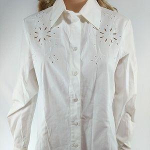 Rafaella NWT Size 6 White Long Sleeve Button Down